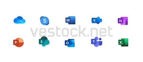 Microsoft new Office icons vector - Word, Excel