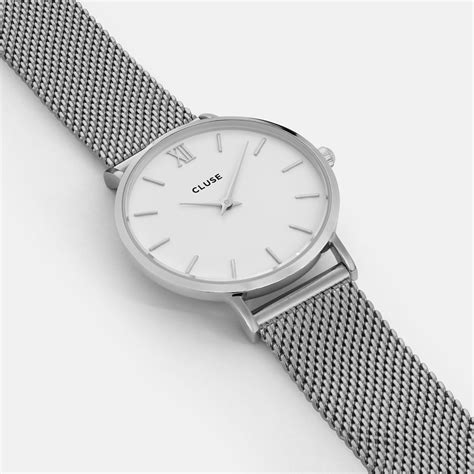 Cluse Minuit Mesh Silver/White Watch CW0101203002   Cluse