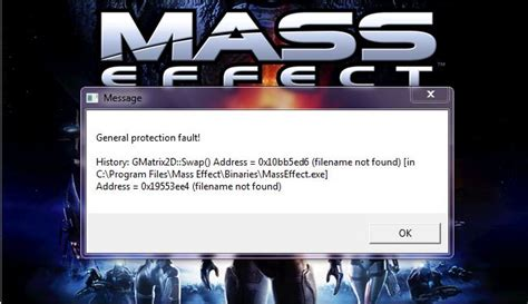 pc technical issues - Error in opening Mass Effect 1 on