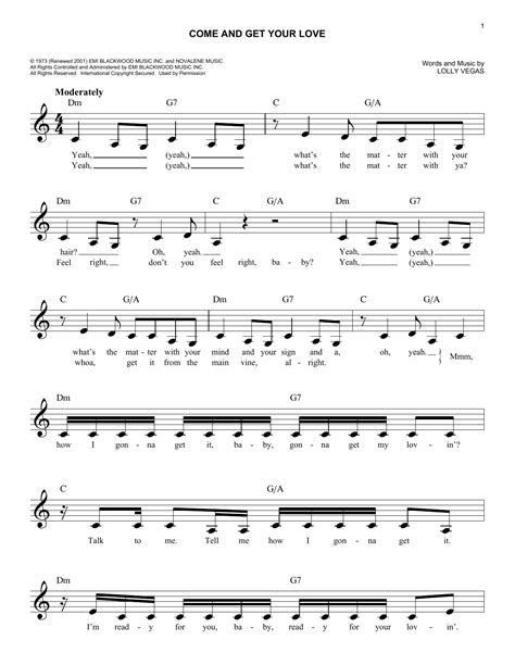Redbone - Come And Get Your Love sheet music