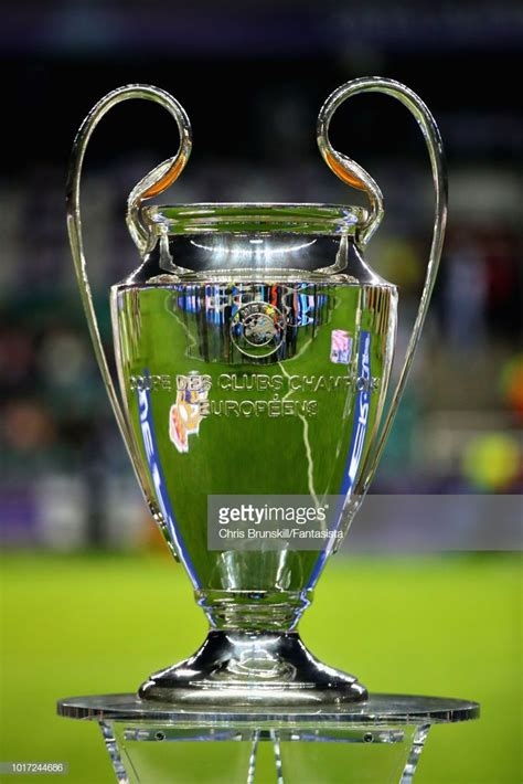 The UEFA Champions League trophy is seen before the UEFA