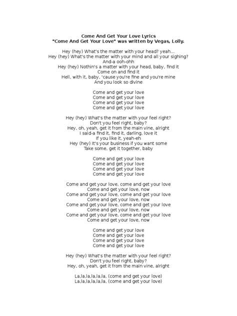 Come and Get Your Love Lyrics