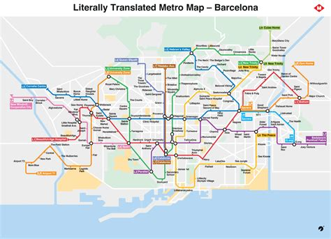 Barcelona metro map literally translated to English with